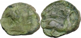 Greek Italy. Central Italy, uncertain mint. Capua or Minturnae(?). AE 17 mm. Late 90s-early 80s BC. Obv. Head of Dionysos right, wearing ivy wreath. R...