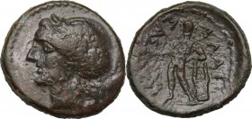 Sicily. Alaisa Archonidea. Roman Rule. AE 20 mm, after 204 BC. Obv. Head of Apollo left, laureate. Rev. Apollo standing left, leaning on lyre set on g...