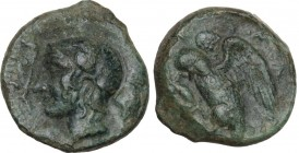 Sicily. Kamarina. AE Tetras, 425-405 BC. Obv. Head of Athena left, helmeted. Rev. Owl standing left on lizard, head lowered, wings about to open. CNS ...
