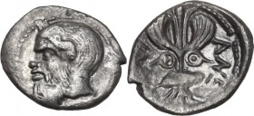 Sicily. Katane. AR Litra, c. 460 BC. Obv. Head of satyr left. Rev. Winged thunderbolt flanked by shields. Cf. SNG ANS 1237 (head right); HGC 2 588. AR...