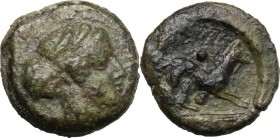 Sicily. Segesta. AE Hexas, 416-415 BC. Obv. Head of nymph Segesta right. Rev. Hound right; above and below, pellet. CNS I 39; HGC 2 1189. AE. 6.58 g. ...