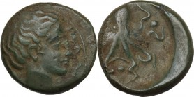 Sicily. Syracuse. Second Democracy (466-405 BC). AE Tetras, after 425 BC. Obv. Head of Arethusa right, surrounded by two dolphins. Rev. Octopus; betwe...