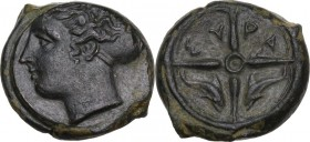 Sicily. Syracuse. Second Democracy (466-405 BC). AE Hemilitron, c. 415-405 BC. Obv. Head of Arethousa left, hair in sphendone. Rev. Wheel of four spok...