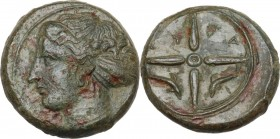 Sicily. Syracuse. Second Democracy (466-405 BC). AE Hemilitron, c. 415-405 BC. Obv. Head of Arethusa left. Rev. Wheel with four spokes; in the bottom ...