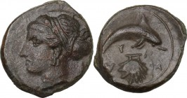 Sicily. Syracuse. Second Democracy (466-405 BC). AE 17 mm, after 410 BC. Obv. Head of Arethusa left. Rev. Dolphin right; below, cockle shell. CNS II 2...
