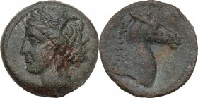 Punic Sardinia. AE 18 mm, 300-264 BC. Obv. Head of Tanit left, wearing wreath. Rev. Head of horse right. SNG Cop. 149-150. AE. 5.02 g. 18.00 mm. Green...