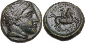Continental Greece. Kings of Macedon. Philip II (359-336 BC). AE 17 mm . Uncertain Macedonian mint. Obv. Diademed head of Apollo right. Rev. Horseman ...