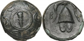 Continental Greece. Kings of Macedon. Alexander III 'the Great' (336-323 BC). AE 1/2 unit, Amphipolis mint. 325-310 BC. Obv. Macedonian shield, in the...