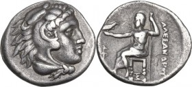 Continental Greece. Kings of Macedon. Alexander III 'the Great' (336-323 BC). AR Drachm. Sardes mint. Struck circa 323-319 BC. Obv. Head of Herakles r...