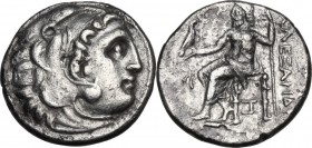 Continental Greece. Kings of Macedon. Alexander III 'the Great' (336-323 BC). AR Drachm. Abydus mint. Struck circa 310-301 BC. Obv. Head of Herakles r...