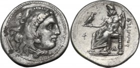 Continental Greece. Kings of Macedon. Philip III Arrhidaios (323-317 BC). AR Drachm, Sardes mint, 323-319 BC. Obv. Head of Herakles right, wearing lio...