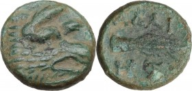 Continental Greece. Kings of Thrace. Adaios (circa 253-243 BC). AE 13.5 mm. Obv. Head of boar right. Rev. Spearhead right; two monograms below. Psoma,...