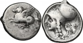 Continental Greece. Akarnania, Argos Amphilochicum. AR Stater, 345-300 BC. Obv. Pegasus flying left; below AP. Rev. Head of Athena left, wearing Corin...