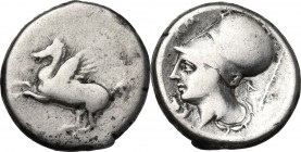 Continental Greece. Akarnania, Argos Amphilochicum. AR Stater, 340-300 BC. Obv. Pegasus flying left. Rev. Head of Athena left, wearing Corinthian helm...