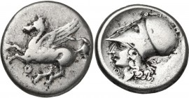 Continental Greece. Akarnania, Thyrrheion. AR Stater, 4th-3rd century BC. Obv. Pegasus flying left; below, Θ. Rev. Head of Athena left, wearing Corint...