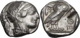 Continental Greece. Attica, Athens. AR Tetradrachm, c. 454-404 BC. Obv. Helmeted head of Athena right, with frontal eye. Rev. AΘE. Owl standing right,...