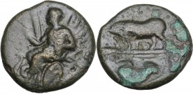 Continental Greece. Attica, Athens. AE 17 mm, circa 340-335 BC. Obv. Triptolemos, holding grain ear, seated left in winged chariot being drawn by two ...