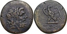 Greek Asia. Pontos, Amisos. AE 18.5 mm. Circa 100-85 BC. Obv. Laureate head of Zeus right. Rev. Eagle standing left, head right, on thunderbolt. HGC 7...
