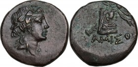 Greek Asia. Pontos, Amisos. Time of Mithradates VI Eupator (c. 85-65 BC). AE 22 mm. Obv. Wreathed head of Mithradates VI as young Dionysos right. Rev....