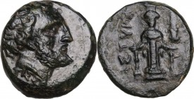 Greek Asia. Mysia, Astyra. Tissaphernes, Satrap of Mysia (400-395 BC). AE 12 mm. Obv. Bearded head of Tissaphernes right. Rev. Cult statue of Artemis ...