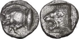Greek Asia. Mysia, Kyzikos. AR Trihemiobol, circa 450-400 BC. Obv. Forepart of boar left; to right, tunny upward. Rev. Head of roaring lion left withi...