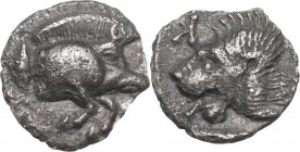 Greek Asia. Mysia, Kyzikos. AR Hemiobol, c. 450-400 BC. Obv. Forepart of boar right; tunny to left. Rev. Head of roaring lion left, retrograde K to le...