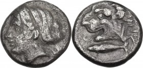 Greek Asia. Mysia, Kyzikos. Drachm, circa 341/0-300 BC. Obv. Head of Kore Soteira to left, with hair in sphendone. Rev. Head of lion left; below, tunn...