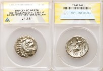 DANUBE REGION. Balkan Tribes. Imitating Alexander III the Great. Ca. 3rd-2nd centuries BC. AR tetradrachm (27mm, 12h). ANACS VF 35. Celtic issue imita...