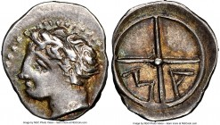 GAUL. Massalia. Ca. 2nd century BC. AR obol (11mm, 12h). NGC Choice XF. Ca. 350-150 BC. Bare head of Apollo left / MA within two spokes of a wheel. SN...