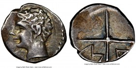 GAUL. Massalia. Ca. 2nd century BC. AR obol (10mm, 5h). NGC XF. Ca. 350-150 BC. Bare head of Apollo left / MA within two spokes of a wheel. SNG Copenh...