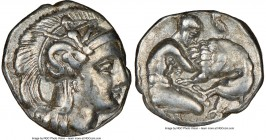 CALABRIA. Tarentum. Ca. 380-280 BC. AR diobol (11mm, 5h). NGC Choice VF. Ca. 325-280 BC. Head of Athena right, wearing crested Attic helmet decorated ...
