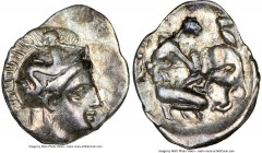 CALABRIA. Tarentum. Ca. 380-280 BC. AR diobol (13mm, 12h). NGC VF. Ca. 325-280 BC. Head of Athena right, wearing crested Attic helmet decorated with f...