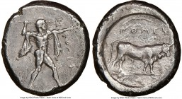 LUCANIA. Poseidonia. Ca. 470-420 BC. AR stater (20mm, 6h). NGC Choice VF, brushed. ΠΟMES, Poseidon striding right, nude but for chlamys spread across ...