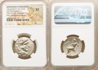 MACEDONIAN KINGDOM. Alexander III the Great (336-323 BC). AR tetradrachm (25mm, 1h). NGC XF. Late lifetime-early posthumous issue of Aradus, under Pto...