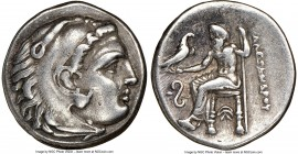 MACEDONIAN KINGDOM. Alexander III the Great (336-323 BC). AR drachm (18mm, 5h). NGC Choice VF, brushed. Early posthumous issue of Lampsacus, ca. 323-3...