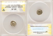 THRACE. Apollonia Pontica. Ca. Late 5th-4th centuries BC. AR drachm (14mm, 6h). ANACS VF 30. Ca. 425-350 BC. Head of gorgoneion facing, hair of coiled...