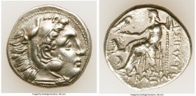 THRACIAN KINGDOM. Lysimachus (305-281 BC). AR drachm (18mm, 4.44 gm, 1h). Choice VF. Lifetime issue of Colophon, ca. 301-297 BC. Head of Heracles righ...