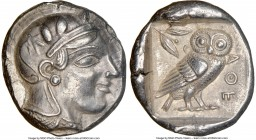 ATTICA. Athens. Ca. 455-440 BC. AR tetradrachm (24mm, 17.19 gm, 1h). NGC Choice XF 5/5 - 4/5. Early transitional issue. Head of Athena right, wearing ...