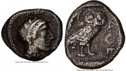 ATTICA. Athens. Ca. 454-404 BC. AR obol (19mm, 3h). NGC Choice Fine. Head of Athena right, wearing crested Attic helmet ornamented with three laurel l...