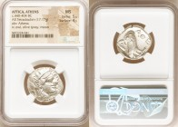 ATTICA. Athens. Ca. 440-404 BC. AR tetradrachm (23mm, 17.17 gm, 6h). NGC MS 5/5 - 4/5. Mid-mass coinage issue. Head of Athena right, wearing crested A...