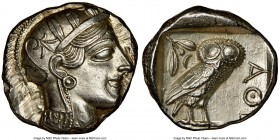 ATTICA. Athens. Ca. 440-404 BC. AR tetradrachm (25mm, 17.19 gm, 7h). NGC MS 4/5 - 4/5. Mid-mass coinage issue. Head of Athena right, wearing crested A...