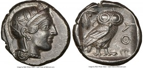 ATTICA. Athens. Ca. 440-404 BC. AR tetradrachm (25mm, 17.16 gm, 5h). NGC Choice AU 5/5 - 4/5. Mid-mass coinage issue. Head of Athena right, wearing cr...