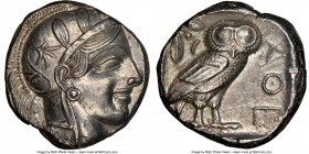 ATTICA. Athens. Ca. 440-404 BC. AR tetradrachm (22mm, 17.19 gm, 4h). NGC Choice AU 5/5 - 4/5. Mid-mass coinage issue. Head of Athena right, wearing cr...