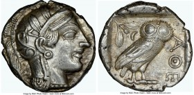ATTICA. Athens. Ca. 440-404 BC. AR tetradrachm (25mm, 17.19 gm, 10h). NGC Choice AU 5/5 - 4/5. Mid-mass coinage issue. Head of Athena right, wearing c...