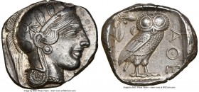 ATTICA. Athens. Ca. 440-404 BC. AR tetradrachm (25mm, 17.16 gm, 7h). NGC Choice AU 5/5 - 4/5. Mid-mass coinage issue. Head of Athena right, wearing cr...