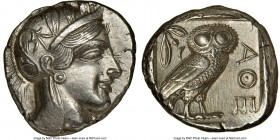 ATTICA. Athens. Ca. 440-404 BC. AR tetradrachm (25mm, 17.22 gm, 11h). NGC Choice AU 4/5 - 4/5, brushed. Mid-mass coinage issue. Head of Athena right, ...