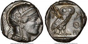 ATTICA. Athens. Ca. 440-404 BC. AR tetradrachm (24mm, 17.21 gm, 9h). NGC Choice AU 5/5 - 2/5, test cut. Mid-mass coinage issue. Head of Athena right, ...