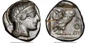 ATTICA. Athens. Ca. 440-404 BC. AR tetradrachm (25mm, 17.20 gm, 7h). NGC Choice AU 5/5 - 2/5, test cut. Mid-mass coinage issue. Head of Athena right, ...
