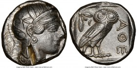 ATTICA. Athens. Ca. 440-404 BC. AR tetradrachm (24mm, 17.21 gm, 7h). NGC Choice AU 5/5 - 2/5, test cut. Mid-mass coinage issue. Head of Athena right, ...