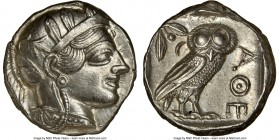 ATTICA. Athens. Ca. 440-404 BC. AR tetradrachm (24mm, 17.21 gm, 7h). NGC AU 5/5 - 5/5. Mid-mass coinage issue. Head of Athena right, wearing crested A...